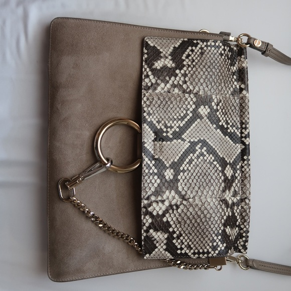 2f40dd9f5f8 Chloe Bags | Faye Medium Python Flap With Grey Suede | Poshmark